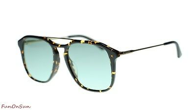 4030fc483e NEW Gucci Sunglasses GG0321S 004 Havana Gold Green Lens Square 55mm  Authentic