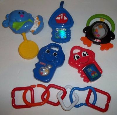 Lot of 5 Fisher Price Rattles Teethers Baby Developmental Toys & Kids II Links