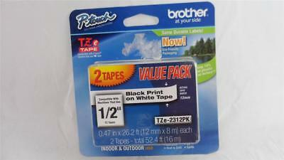 "2 Pack Genuine Brother P-Touch TZe-231 1/2"" Black Print White Tape TZ231 TZ-231"