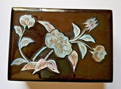 Vintage Black Laquer Jewelry Trinket Box Mother of Pearl Inlay Hinged Lined 3x4