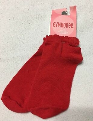 Nwt Vintage Gymboree Girls Red Pom Pom Ankle Socks Sz 3-4 Years. Stretchy, Soft