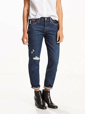 5f7564d9a7b6 New Women's Levi's 501 Button-Fly Destroyed Tapered Leg Denim Jeans Size  24x28