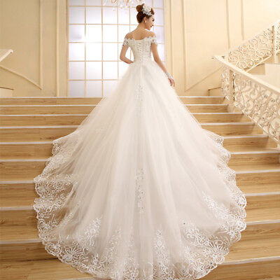 White  Wedding Dress Bridal Gown Princess White Lace Beading Crystal Boat Neck