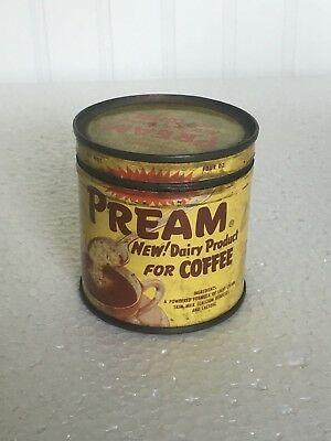 Vintage Pream Tin Dairy Product for Coffee - Yellow 4oz size