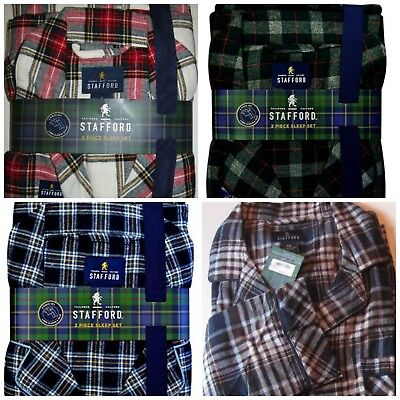 Stafford Men's Pajama Set Soft Cotton Flannel S XL 2XL Hunter Blue Brown Tartan