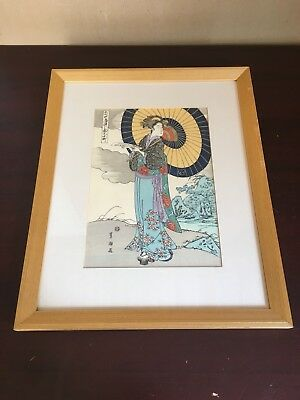 Utagawa Toyokuni 1769 - 1825 Japanese Woodblock Antique Art Wood Frame