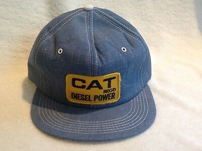 Vtg CAT Diesel Snapback Trucker Hat Cap Caterpillar Patch Denim K Brand  Products 5943b70f9d6