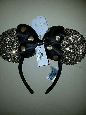 NEW Disney Parks Gold & Black Minnie Mouse Polka Dot Ears Hat Sequin Headband