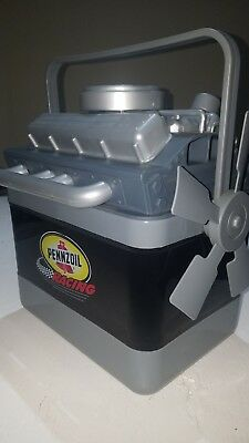 RARE PENNZOIL car engine cooler chest 6 pack lunch box nascar collectible