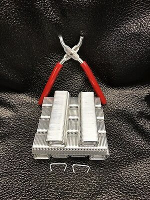 """Hog Ring Pliers & 1000 Hog Rings 3/4"""" Easy Snap Off -Seats Upholstery Fence Cage"""