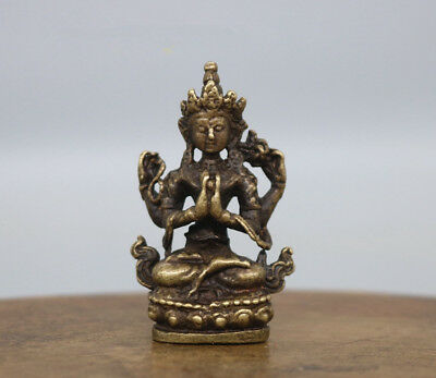 China's archaize brass Four arm Buddha Small statue