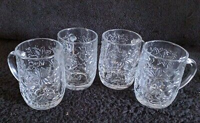 "4 Princess House FANTASIA Glass Coffee Beverage Mugs 4"" Set Of Four"