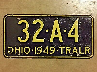 1949 OHIO trailer license plate - VERY SHARP old vintage antique auto tag