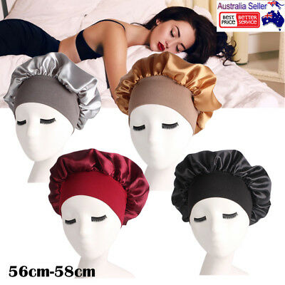 Night Sleep Cap Hair Care Bonnet Hat Head Cover Satin Wide Band Long Hair Care