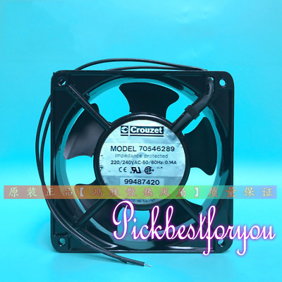 Crouzet Cooling Fan 12038 12CM AC 220V 0.14A 70546289 99487420 2 Wire #MY86 QL
