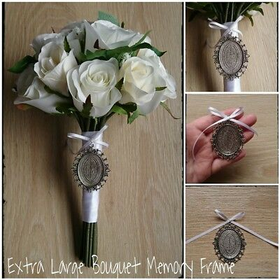 Bouquet Memory Frame Charm Photo Bride Wedding Flower Silver Oval Gift *XLARGE*