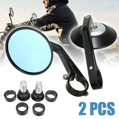 "2x Round Motorcycle 7/8"" Handle Bar End Rearview Side Mirror for Cafe Racer"