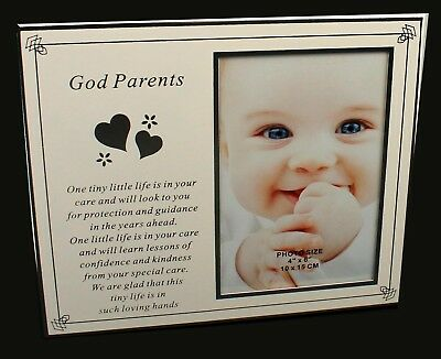 God Parents Christening Baby Boy Girl Silver Photo Frame Keepsake Gift Present