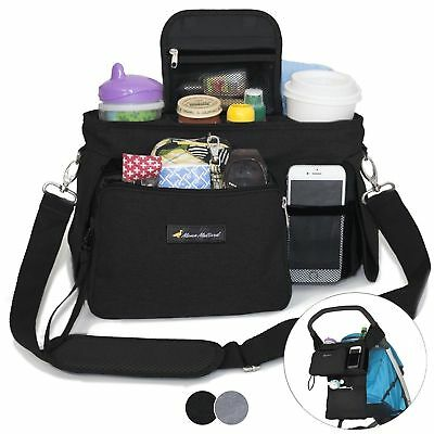 BEST STROLLER ORGANIZER WITH CUP HOLDERS - Universal Fit - Premium Storage Bag -