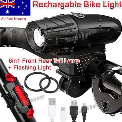 LED USB Rechargeable bike bicycle lights Front & Rear Lamp Warning Taillight AUS
