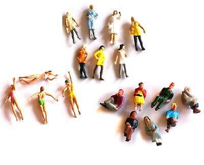 Plastic Figures H0 scale 1:87, painted, unboxed, sold in groups swimmers &more