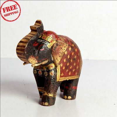 1930's Old Antique Fine Unique Hand Carved Painted Wooden Elephant Statue 9980