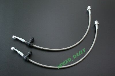 FRONT STAINLESS STEEL BRAKE LINE FIT Integra Honda Civic del Sol Silver 2 lines