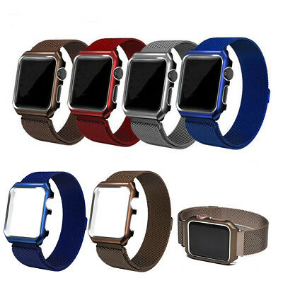 Milanese Loop Steel Watch Band Strap +Metal Frame Cover For Fitbit Versa S/L