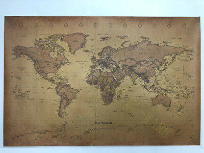 World Map Vintage Antique Style Time Zone 100X66cm Education Decoration Poster