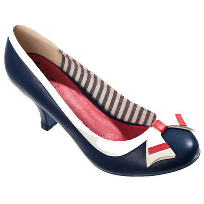 4923315b9af3b0 Dancing Days Retro Vintage Rockabilly Heels Pumps Schuhe Sparkle Falls Blau