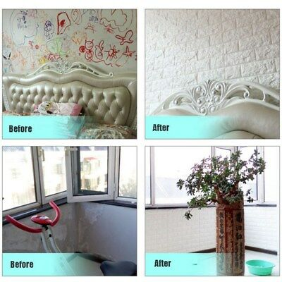 Foam DIY 3D Wall Stickers Embossed Brick Stone Home Room Decor Backdrop