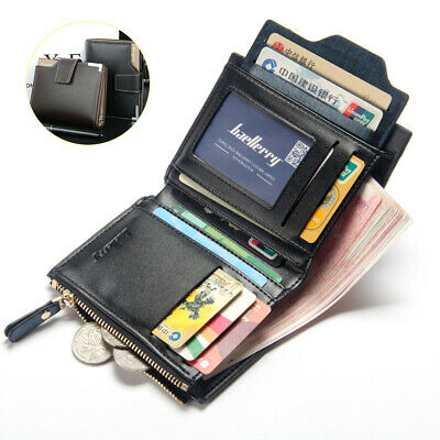 Men's Leather Bifold Wallet Coin Purse ID Credit Card Holder Short Money Clip
