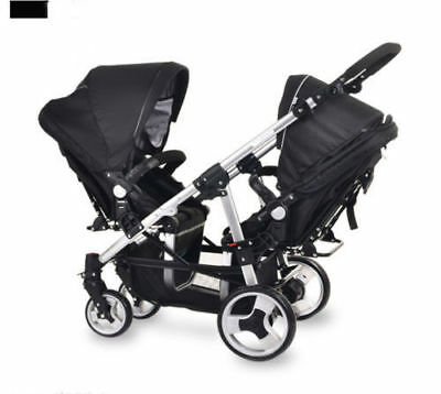 Black Baby Stroller Double Stroller Twin Pram Lightweight Buggy