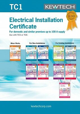 Kewtech TC1 Electrical Installation Certificate for up to 100A Supply.
