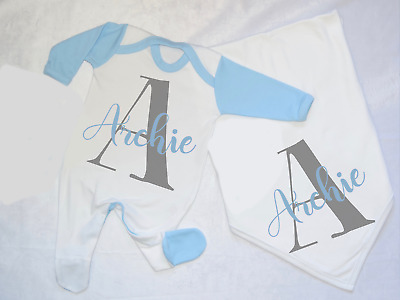 Personalised Letter and Name Baby Set Babygrow and Blanket Hospital Outfit