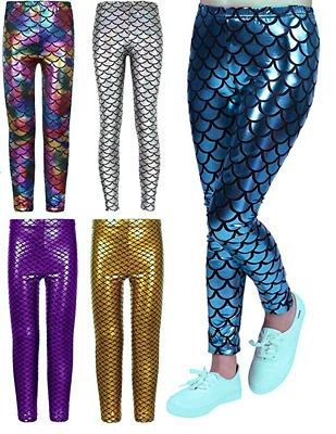 Crazy Chick® Girls Metallic Fish Scale Leggings Mermaid Kids Shiny Foil Legging