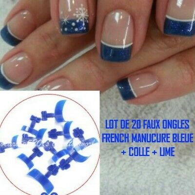 Lot 20 Tips Faux Ongle Bleu French Manucure Gel Uv Vernis Colle Lime Ong106