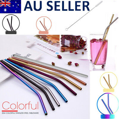 4x Eco Stainless Steel Reusable Metal Drinking Straw Straws Gold/Rainbow 1 Brush