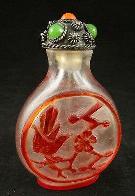 "Vintage Chinese Carved Peking Glass Snuff Bottle, Red Birds & plants. 2 ½""tall."