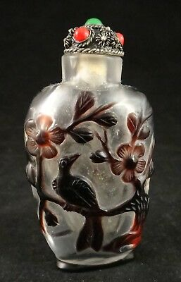 "Vtg Chinese Carved Peking Glass Snuff Dragon & Bird, Silver filigree,2 5/8"",19th"