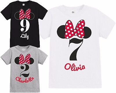 Official Girls Disney Minnie Mouse Bow & Ears Personalised Birthday T Shirt