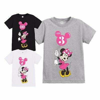 Official Girls Disney Minnie Mouse Balloon Personalised Birthday T Shirt
