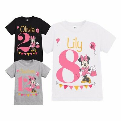 Official Girls Disney Minnie Mouse Party Personalised Birthday T Shirt