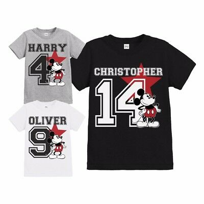 Official Boys Disney Mickey Mouse Star Personalised Birthday T Shirt