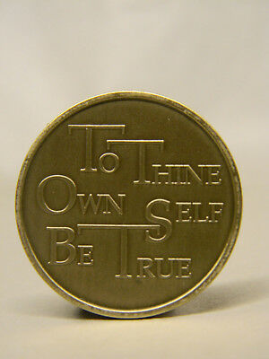 Aa Bronze Medallion - Chip - To Thine Own Self Be True - Alcoholics Anonymous