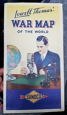 """1940's WW2 Era Sunoco """"Lowell Thomas' War Map of the World"""" Vintage Fold Out Map"""