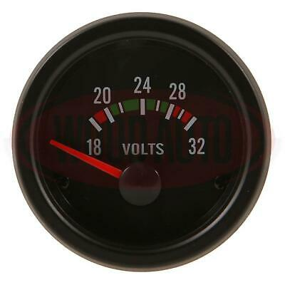VOLTMETER 16 - 32 VOLT DASHBOARD GAUGE METER 24v CLOCK ANALOGUE CARGO 160696