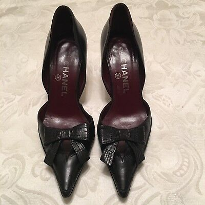 ffe9d87e3 Chanel Authentic Made In Italy Black Leather W Bow Pumps Heels Shoes 37