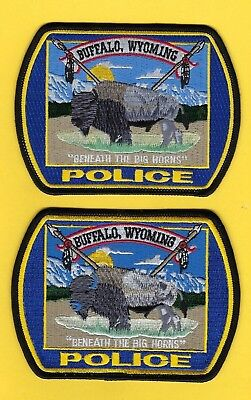 "Buffalo Police Department Patch Set ~ Wyoming ~ ""beneath The Big Horns"" ~ L@@k"
