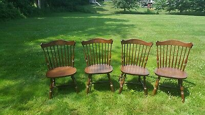 Hitchcock Hitchcocksville Stencil Dining Room Chairs Set Of 4 Vintage Wood Seat